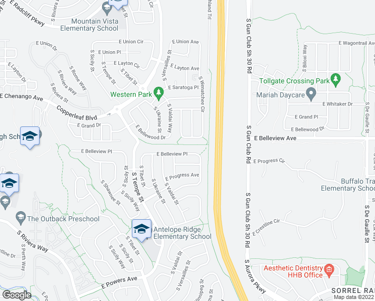map of restaurants, bars, coffee shops, grocery stores, and more near 22839 E Belleview Pl in Aurora