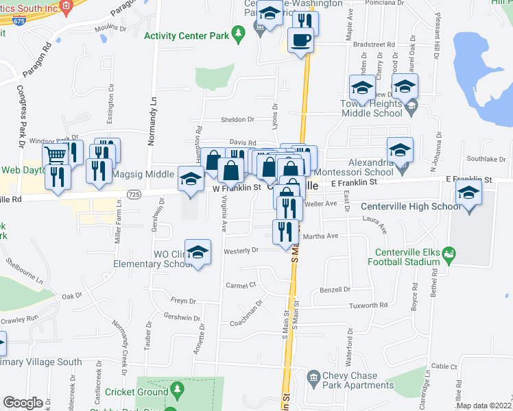 map of restaurants, bars, coffee shops, grocery stores, and more near 74 West Franklin Street in Centerville