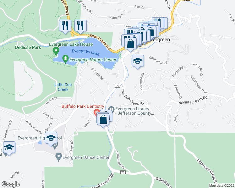 map of restaurants, bars, coffee shops, grocery stores, and more near 4873 Silver Spruce Lane in Evergreen