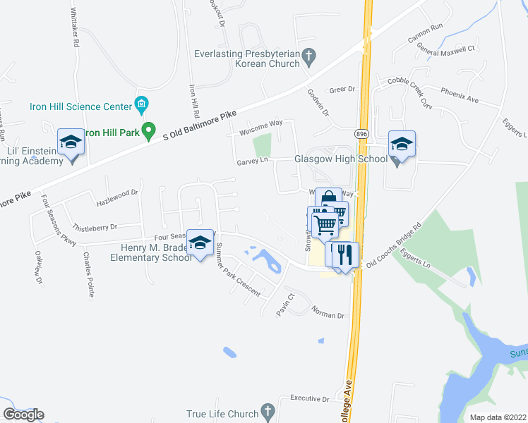 map of restaurants, bars, coffee shops, grocery stores, and more near 5210-6390 Winterhaven Drive in Newark