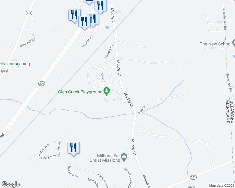 map of restaurants, bars, coffee shops, grocery stores, and more near 19 Glen Creek Circle in Elkton
