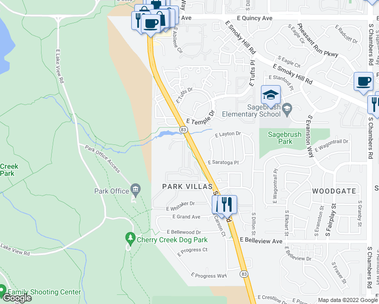 map of restaurants, bars, coffee shops, grocery stores, and more near 2602 South Anaheim Court in Aurora
