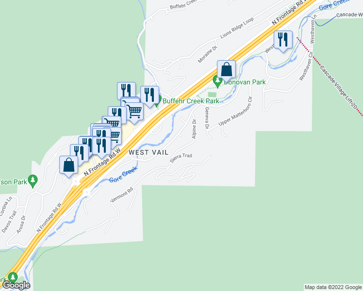 map of restaurants, bars, coffee shops, grocery stores, and more near 1807 Alpine Drive in Vail