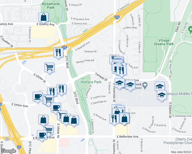 map of restaurants, bars, coffee shops, grocery stores, and more near 8560 East Temple Drive in Denver