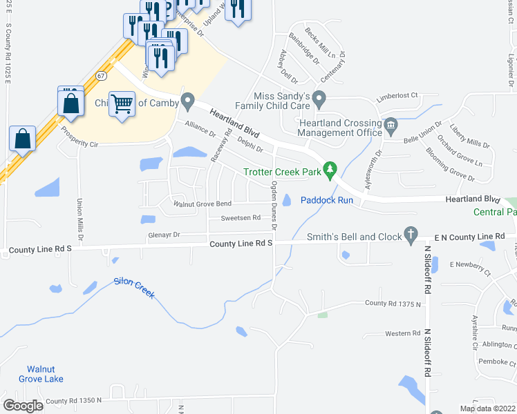 map of restaurants, bars, coffee shops, grocery stores, and more near 10953 Walnut Grove in Hendricks