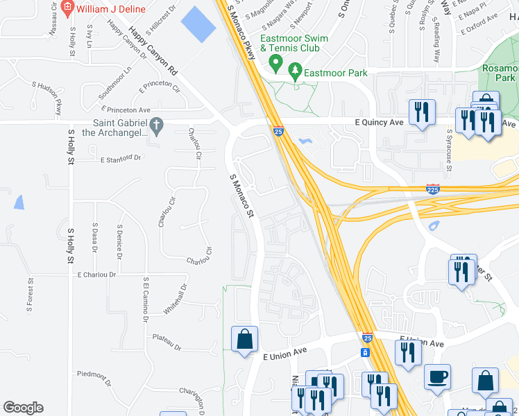 map of restaurants, bars, coffee shops, grocery stores, and more near 4380 South Monaco Street in Denver