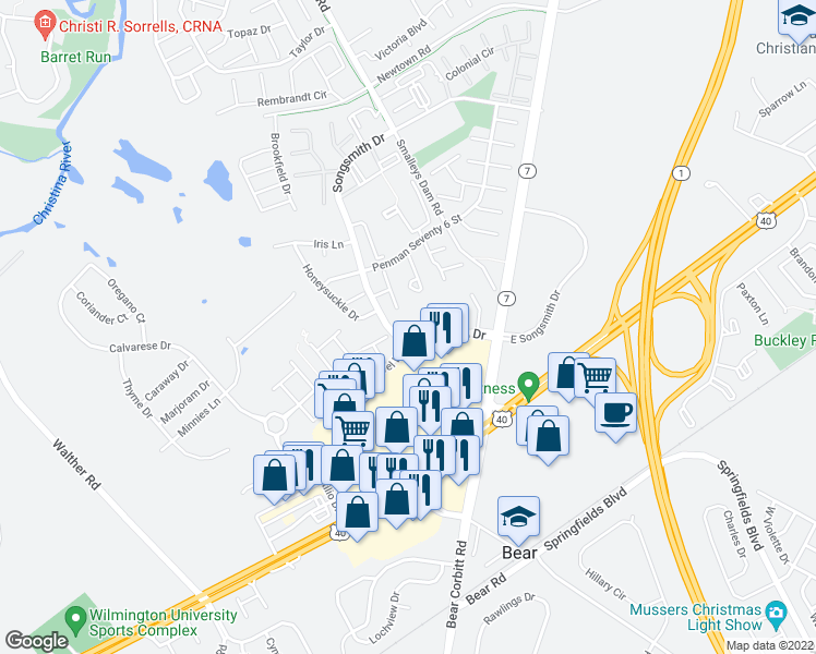 map of restaurants, bars, coffee shops, grocery stores, and more near 1 Songsmith Drive in Bear
