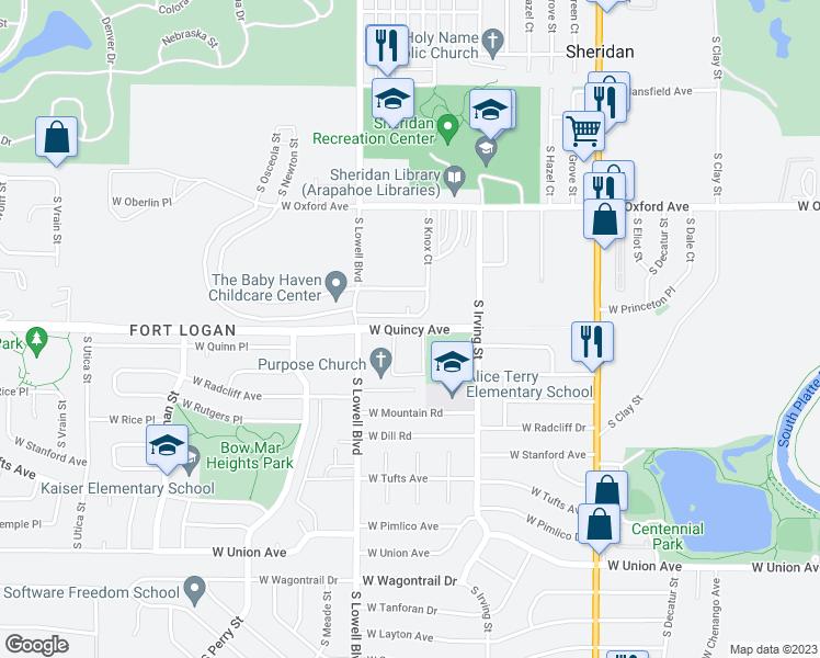 Sheridan Colorado Map.3488 West Quincy Avenue Denver Co Walk Score
