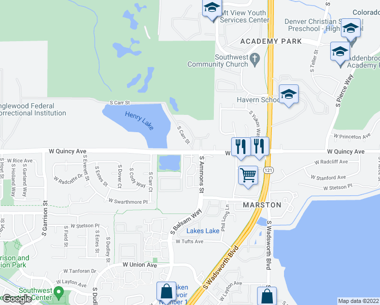 map of restaurants, bars, coffee shops, grocery stores, and more near 8181 West Quincy Avenue in Littleton