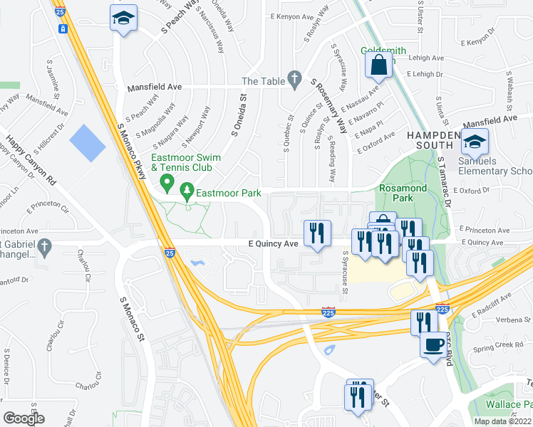 map of restaurants, bars, coffee shops, grocery stores, and more near 7250 Eastmoor Drive in Denver