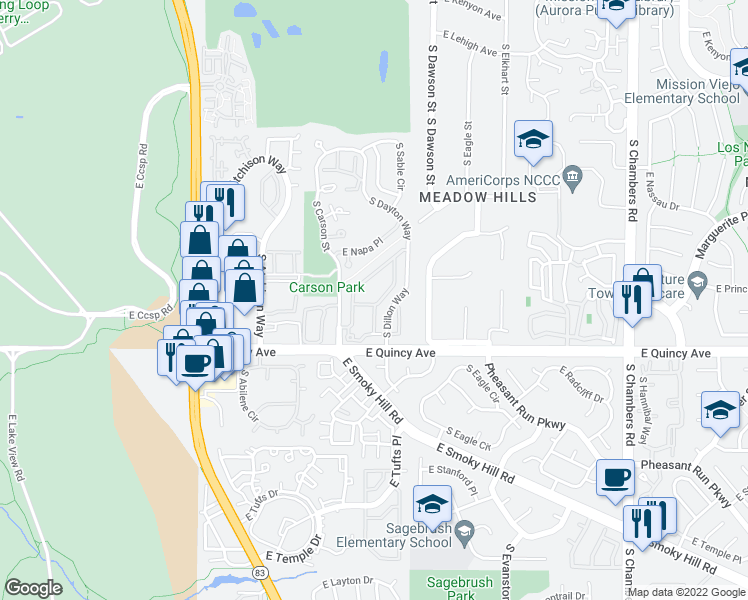 map of restaurants, bars, coffee shops, grocery stores, and more near 4260 South Cimarron Way in Aurora
