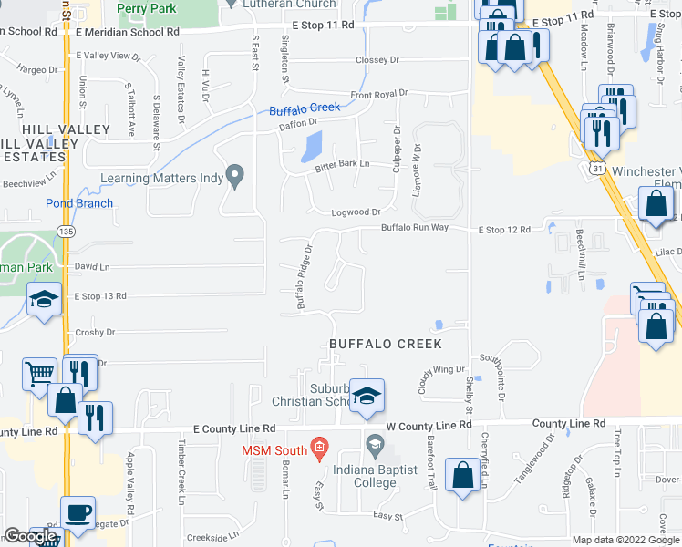 map of restaurants, bars, coffee shops, grocery stores, and more near 720 Buffalo Run Drive in Indianapolis