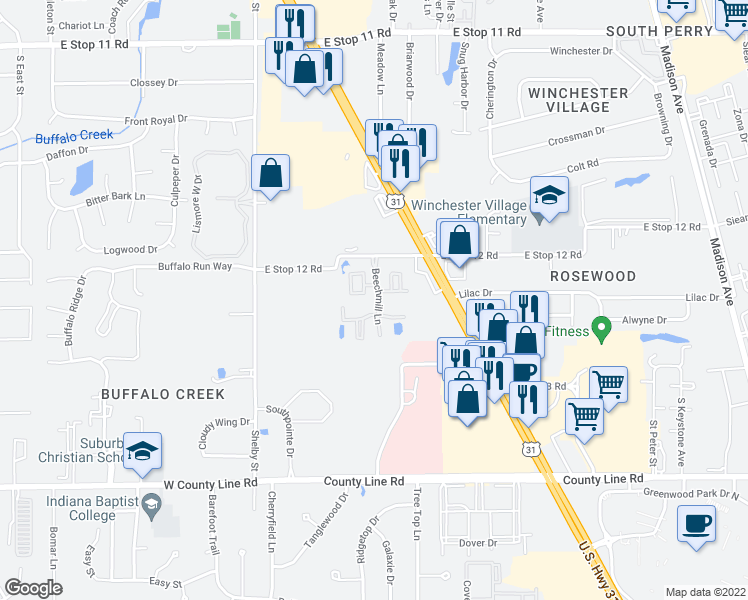 map of restaurants, bars, coffee shops, grocery stores, and more near 8580 Beechmill Lane in Indianapolis
