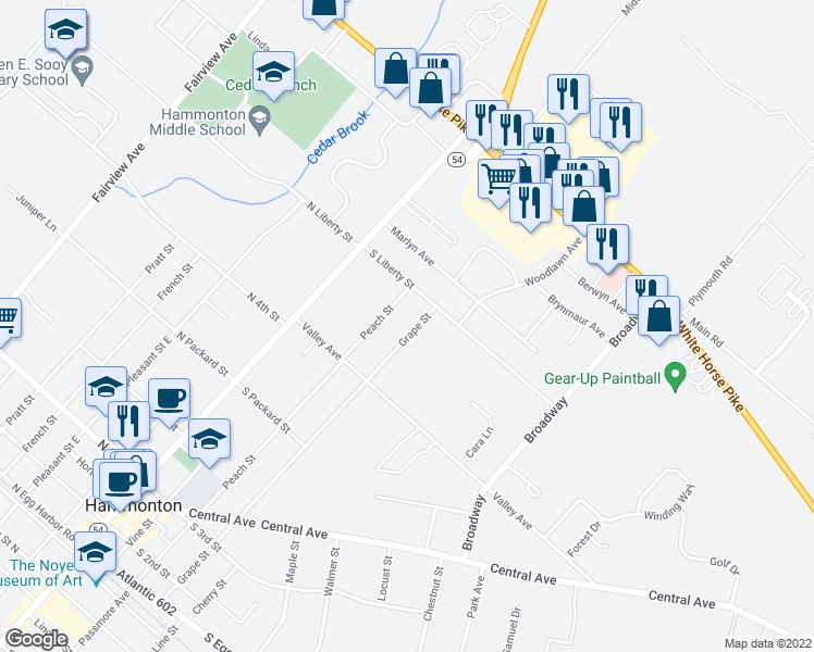 map of restaurants, bars, coffee shops, grocery stores, and more near 663 Grape Street in Hammonton