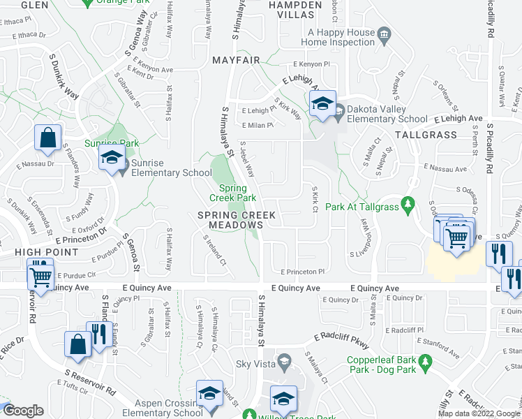 map of restaurants, bars, coffee shops, grocery stores, and more near South Himalaya Street in Aurora