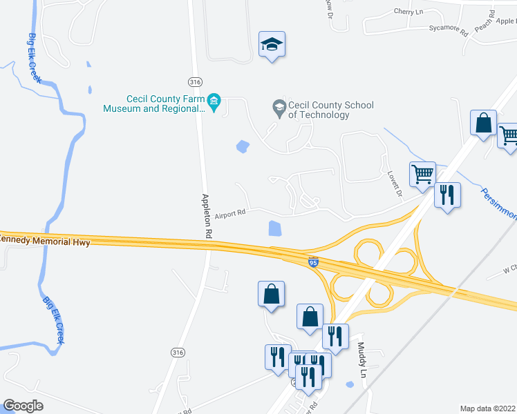 map of restaurants, bars, coffee shops, grocery stores, and more near 399-429 Airport Road in Elkton