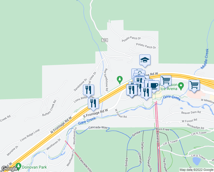 map of restaurants, bars, coffee shops, grocery stores, and more near 915 Red Sandstone Road in Vail
