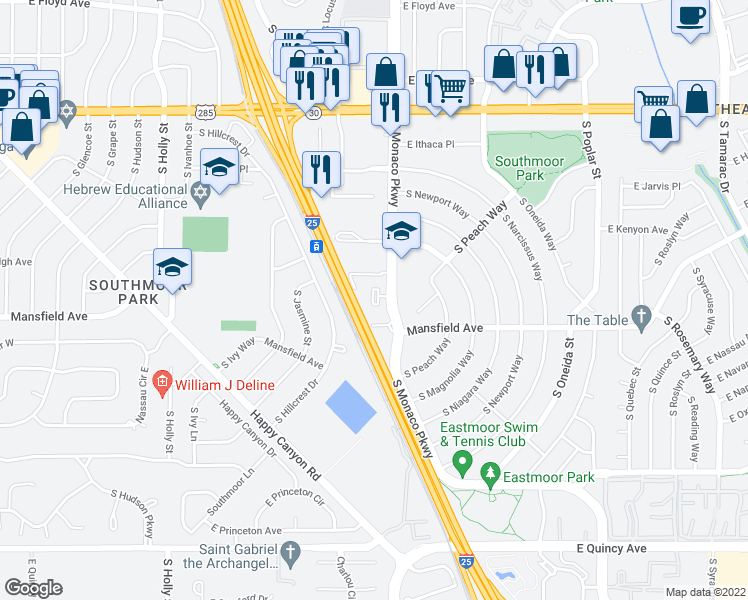 map of restaurants, bars, coffee shops, grocery stores, and more near 3825 S Monaco Pkwy in Denver