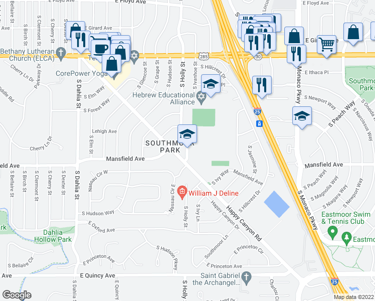 map of restaurants, bars, coffee shops, grocery stores, and more near 3784-3950 South Holly Street in Denver
