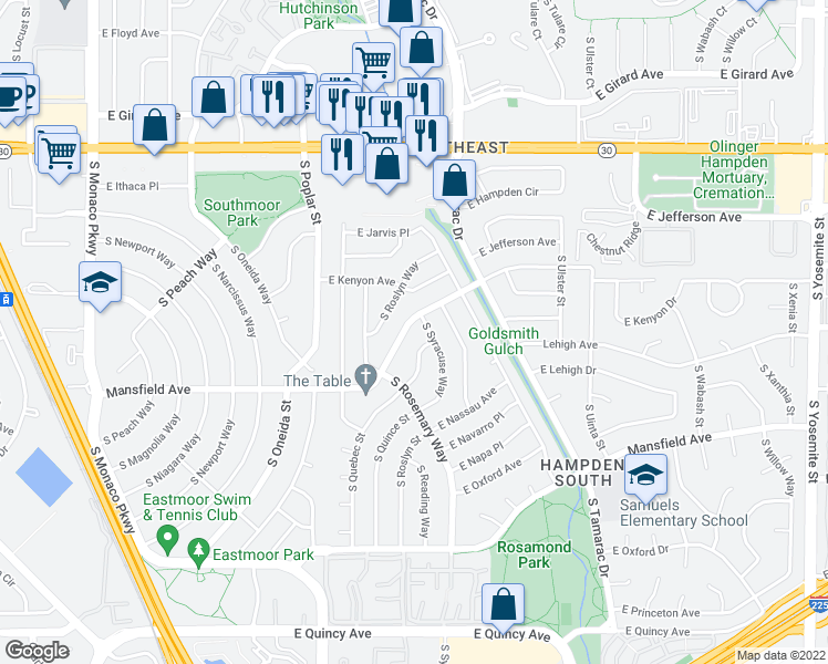 map of restaurants, bars, coffee shops, grocery stores, and more near 3782 South Rosemary Way in Denver