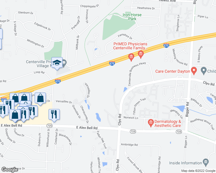 map of restaurants, bars, coffee shops, grocery stores, and more near 6790 River Downs Dr in Centerville