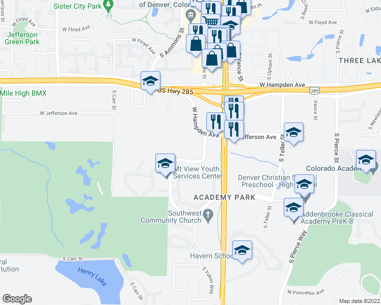 map of restaurants, bars, coffee shops, grocery stores, and more near 7846 West Mansfield Parkway in Denver