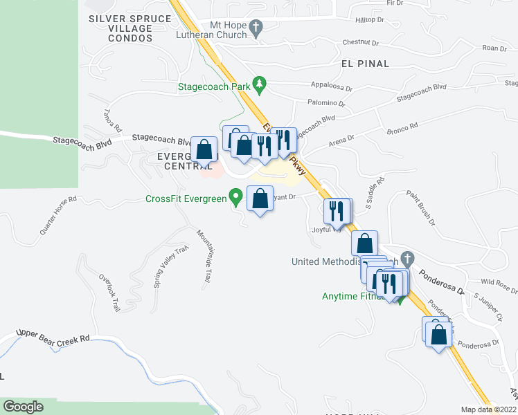 map of restaurants, bars, coffee shops, grocery stores, and more near 30748 Bryant Drive in Evergreen