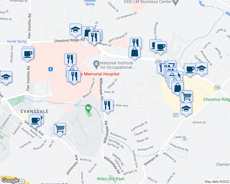 map of restaurants, bars, coffee shops, grocery stores, and more near Stone Gate Circle in Morgantown