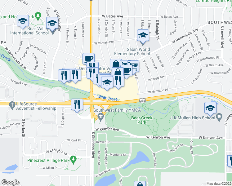map of restaurants, bars, coffee shops, grocery stores, and more near 29 in Denver