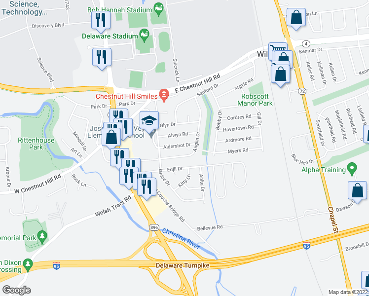 map of restaurants, bars, coffee shops, grocery stores, and more near 49 Anglin Drive in Newark