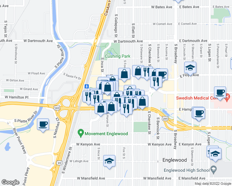 map of restaurants, bars, coffee shops, grocery stores,