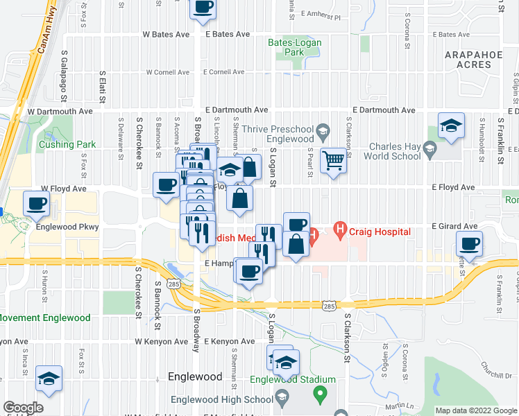 map of restaurants, bars, coffee shops, grocery stores, and more near 3361 South Logan Street in Englewood