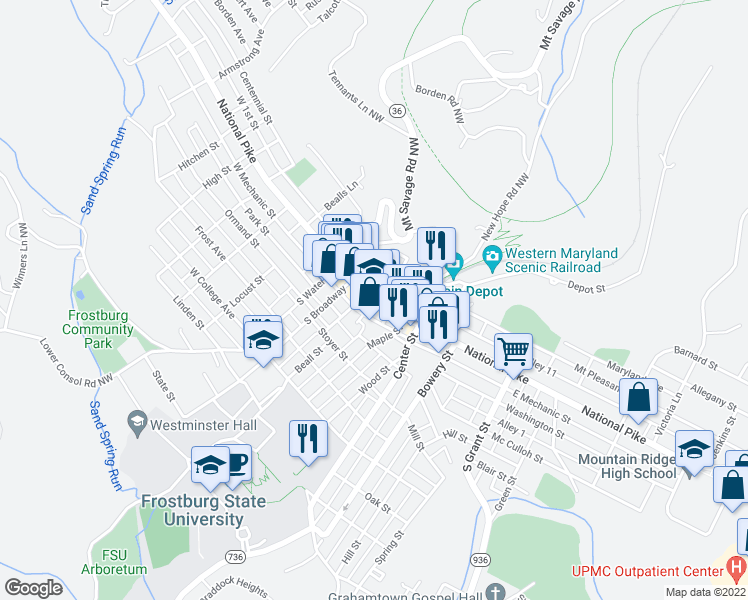 map of restaurants, bars, coffee shops, grocery stores, and more near 1st Street in Frostburg
