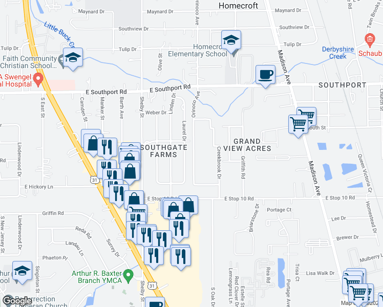 map of restaurants, bars, coffee shops, grocery stores, and more near 1451 East Southport Road in Indianapolis