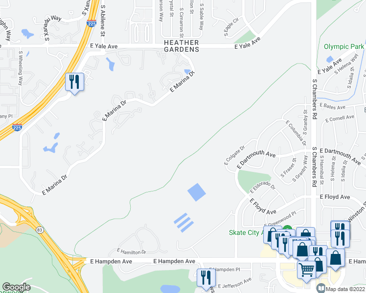 map of restaurants, bars, coffee shops, grocery stores, and more near Colorado Front Range Trail in Aurora