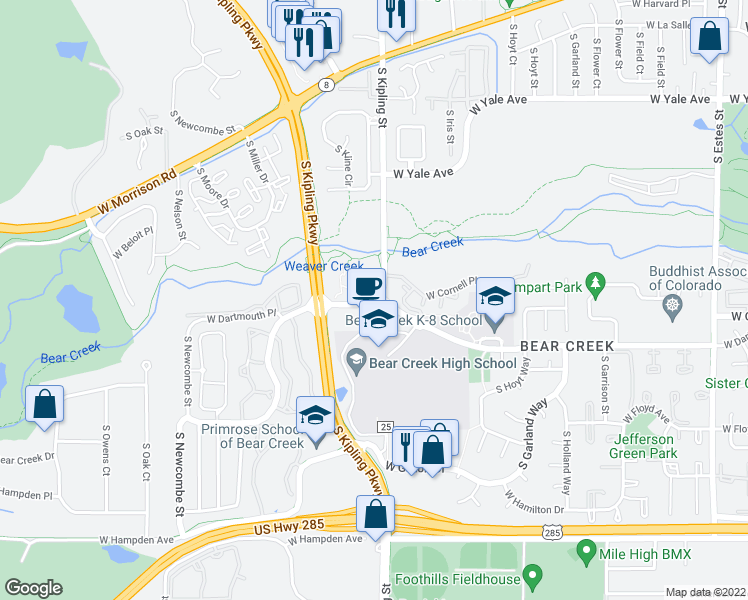 map of restaurants, bars, coffee shops, grocery stores, and more near 10025 West Dartmouth Avenue in Denver