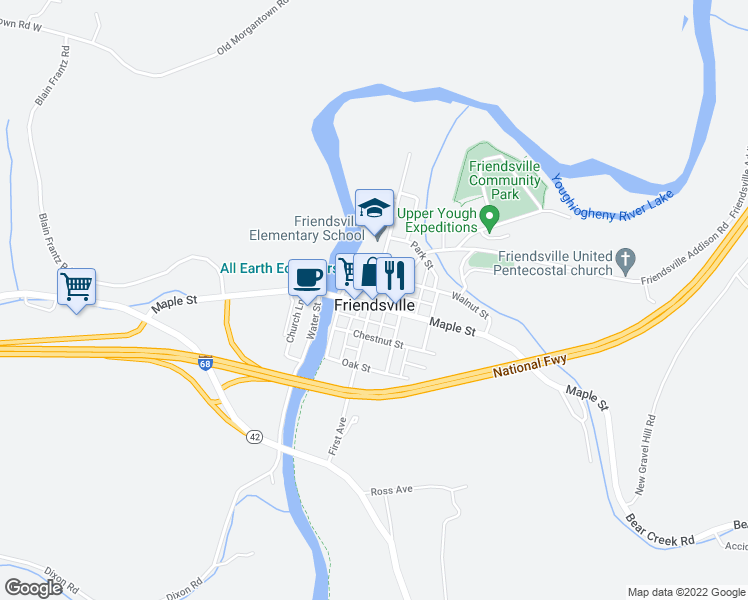 map of restaurants, bars, coffee shops, grocery stores, and more near 143 Walnut Street in Friendsville