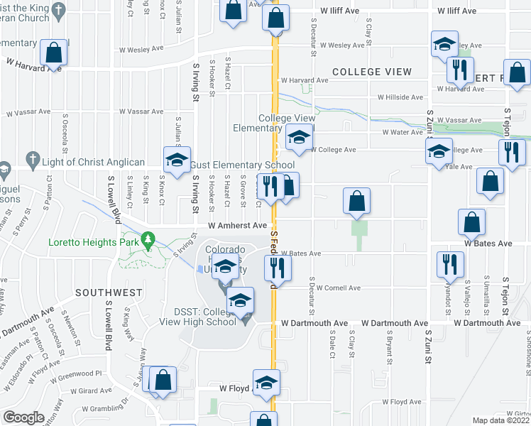 map of restaurants, bars, coffee shops, grocery stores, and more near 2765 South Federal Boulevard in Denver