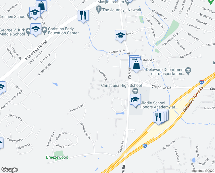 map of restaurants, bars, coffee shops, grocery stores, and more near 573-589 Oakdale Circle in Newark
