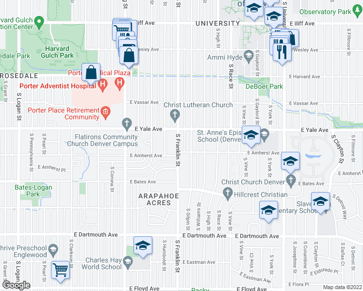 map of restaurants, bars, coffee shops, grocery stores, and more near 2770 South Franklin Street in Denver
