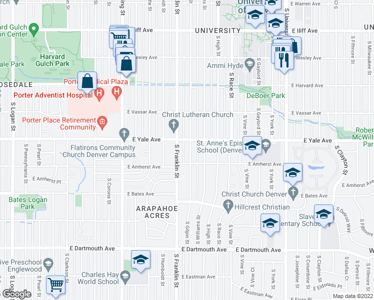 map of restaurants, bars, coffee shops, grocery stores, and more near 2745 South Gilpin Street in Denver