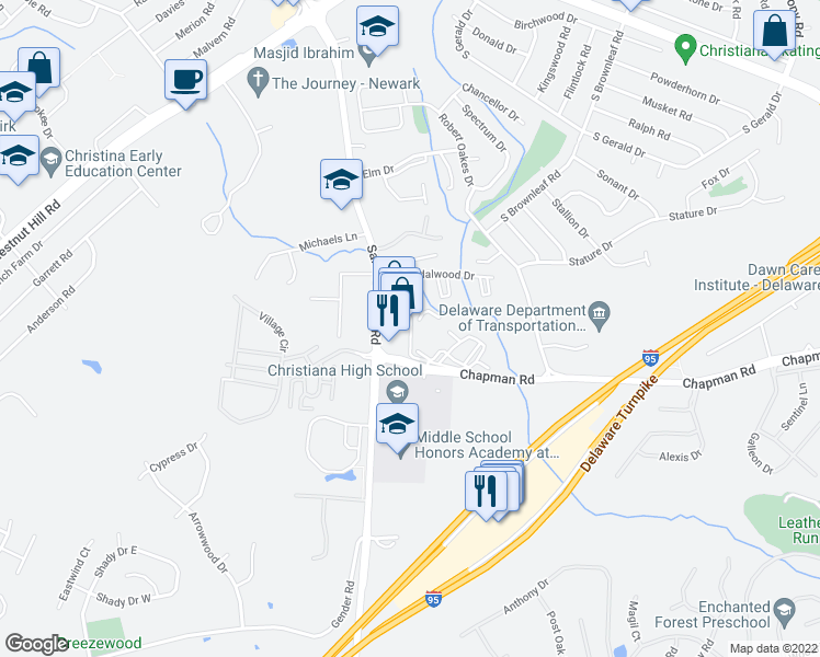 map of restaurants, bars, coffee shops, grocery stores, and more near 21 Sandalwood Drive in Newark