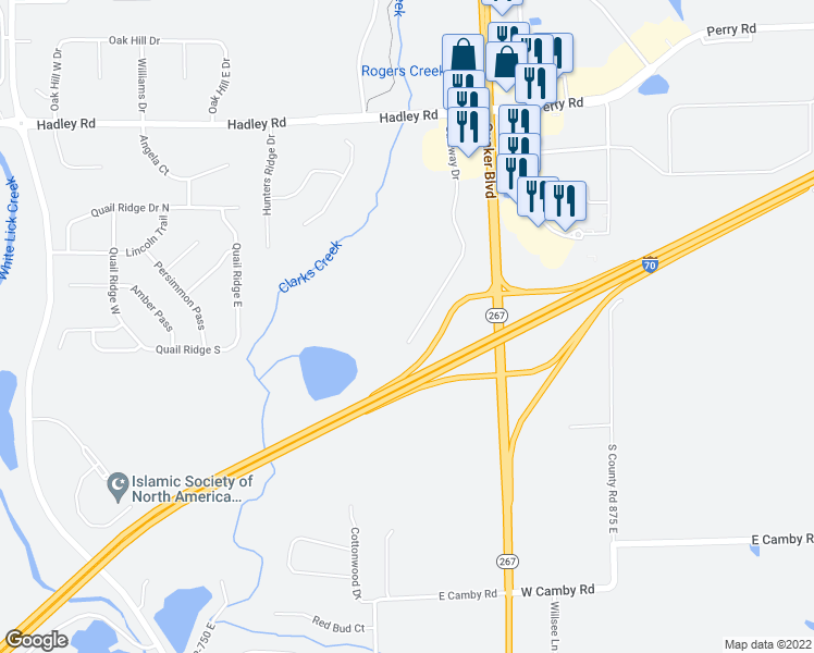 map of restaurants, bars, coffee shops, grocery stores, and more near 6295 Gateway Dr in Plainfield
