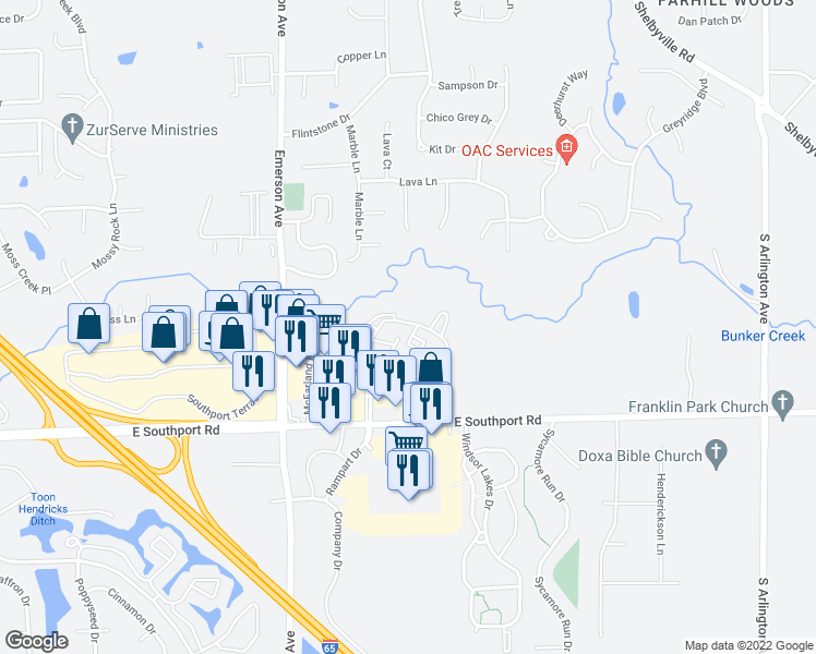 map of restaurants, bars, coffee shops, grocery stores, and more near 6810 Valley Ridge Drive in Indianapolis