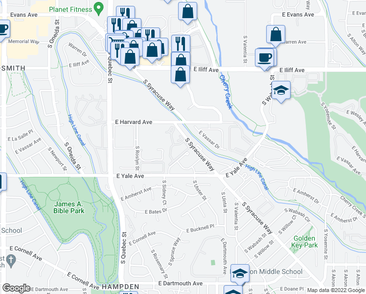 map of restaurants, bars, coffee shops, grocery stores, and more near 2575 South Syracuse Way in Denver