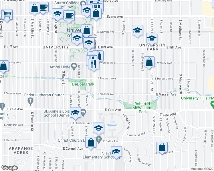 map of restaurants, bars, coffee shops, grocery stores, and more near 2540 South Josephine Street in Denver
