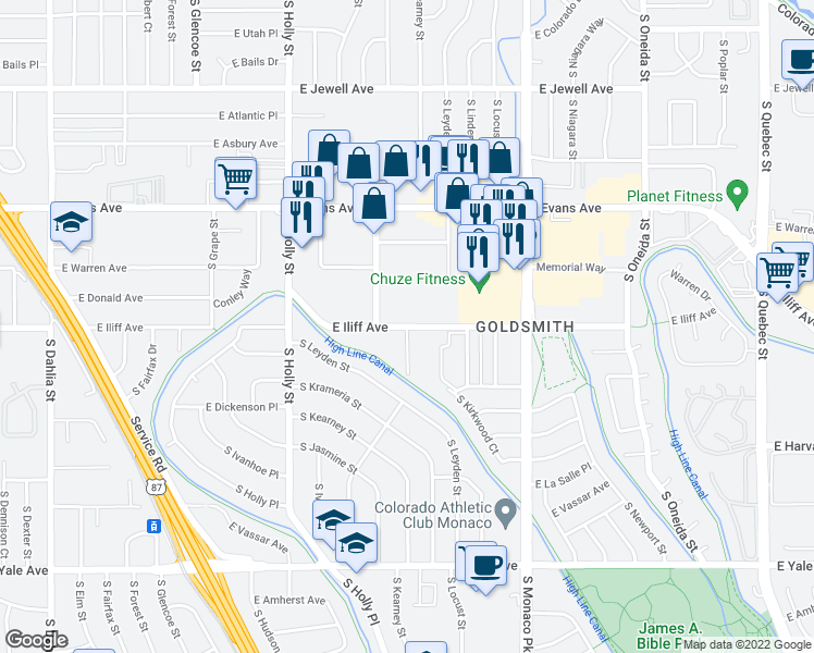 map of restaurants, bars, coffee shops, grocery stores, and more near East Iliff Avenue & South Kearney Street in Denver
