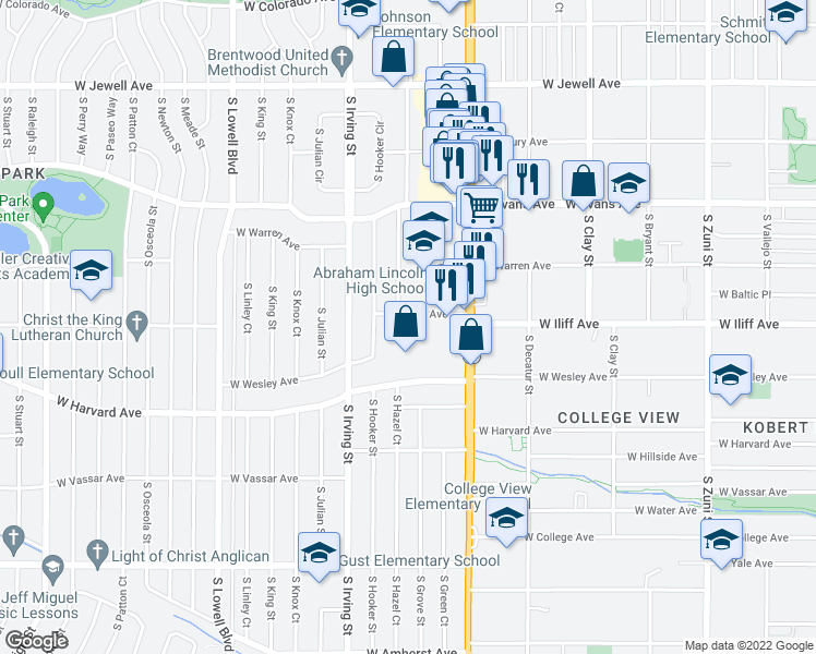 map of restaurants, bars, coffee shops, grocery stores, and more near 3080 West Iliff Avenue in Denver