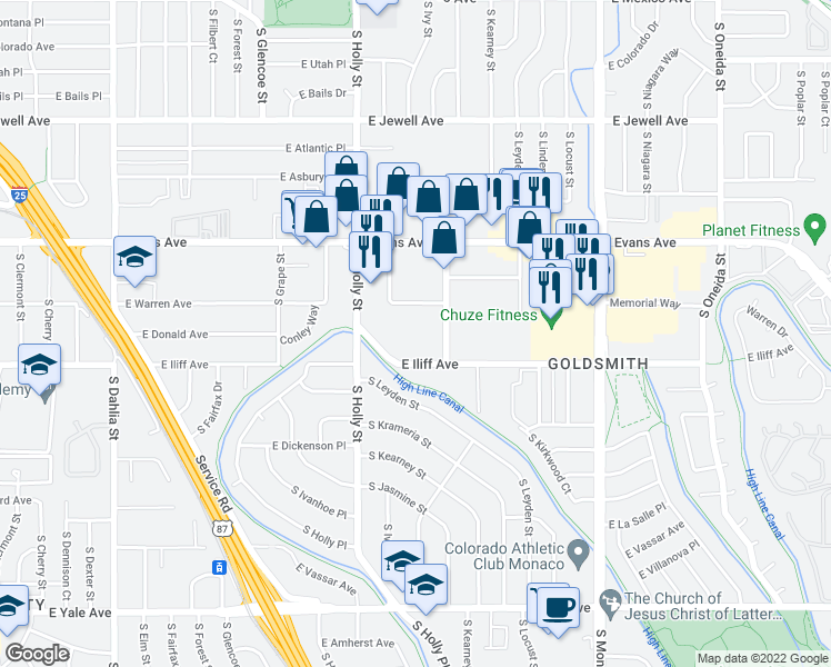 map of restaurants, bars, coffee shops, grocery stores, and more near 5915-5949 East Iliff Avenue in Denver