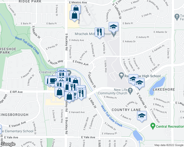 map of restaurants, bars, coffee shops, grocery stores, and more near 2134 South Richfield Way in Aurora